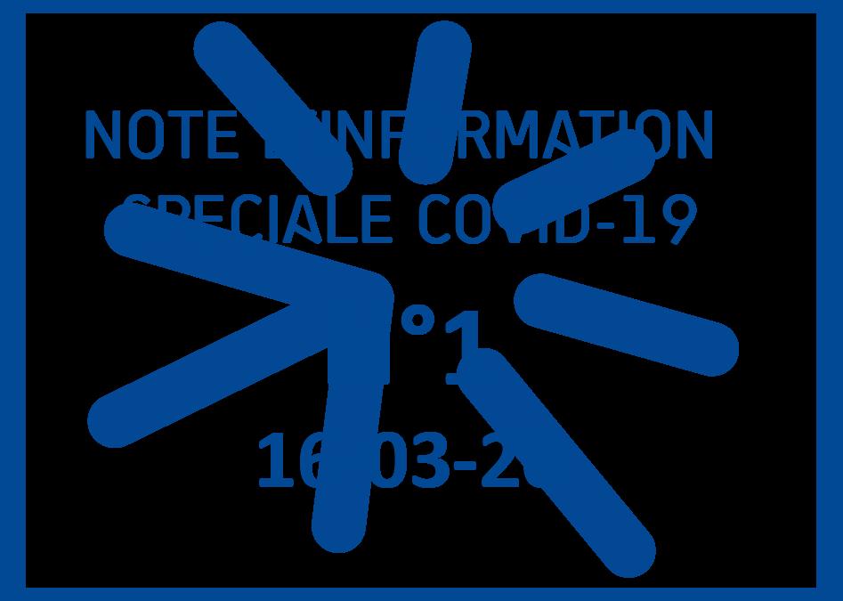 16-03-2020 – NOTE COVID-19 N°1 -Organisation générale de l'association